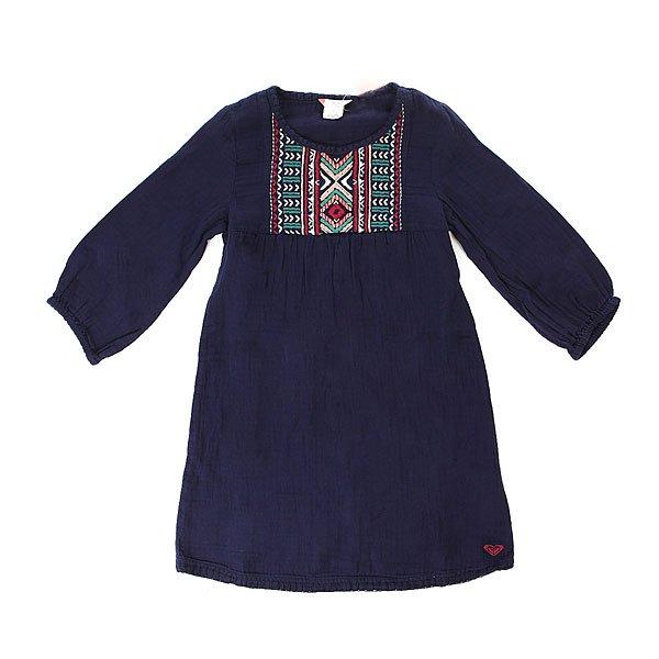 Платье детское Roxy Mojos Blue PrintЛегкое детское хлопковое платьице-футболка свободного кроя. Что может быть лучше для вашей малышки! Характеристики:С длинным рукавом.Присборенный шов на груди. Вышивка на груди. Вышитый логотип ROXY.<br><br>Цвет: синий<br>Тип: Платье<br>Возраст: Детский