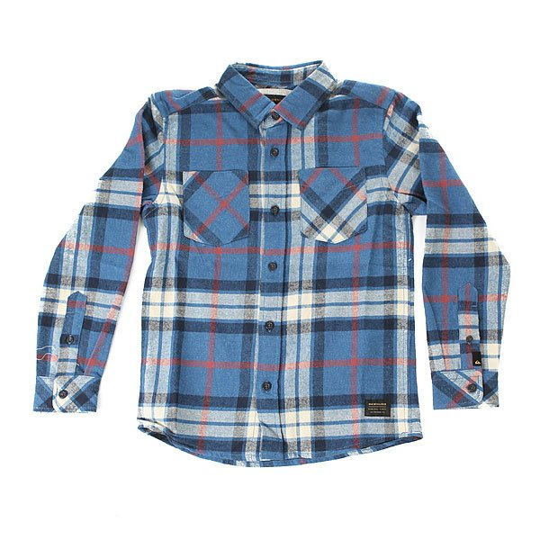 Рубашка в клетку детская Quiksilver Fitz Thrower yth Star Sap<br><br>Цвет: бежевый,синий<br>Тип: Рубашка в клетку<br>Возраст: Детский
