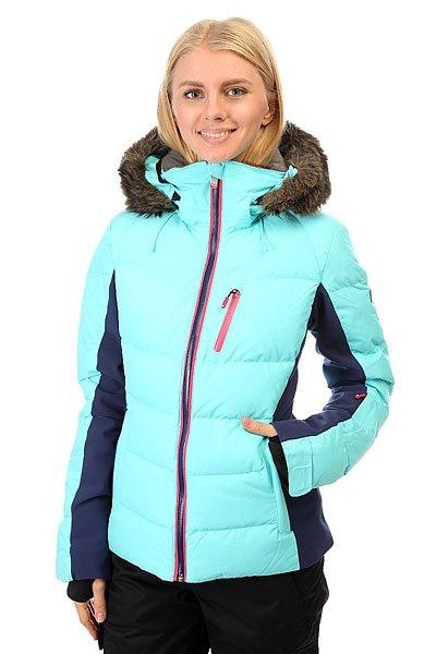 Куртка женская Roxy Snowstorm Blue RadianceСноубордическая куртка Roxy с водонепроницаемой мембраной 15к/10к, водоотталкивающей обработкой DWR и проклеенными швами обеспечит вам полную сухость. У куртки зауженный крой, а с утеплителем из 70% пуха и 30% пера (коэффициент качества пуха fill power - 600), ультралёгкой подкладкой из тафты и лайкровыми вставками можно забыть о прохладных поездках на подъёмнике. Характеристики:Водостойкая мембрана DRY-FLIGHT 15K. Утеплитель: 600 Fill Power (пух + перья). Боковые вставки из ультралегкой фактурной тафты и лайкры.<br><br>Цвет: голубой,синий<br>Тип: Куртка утепленная<br>Возраст: Взрослый<br>Пол: Женский