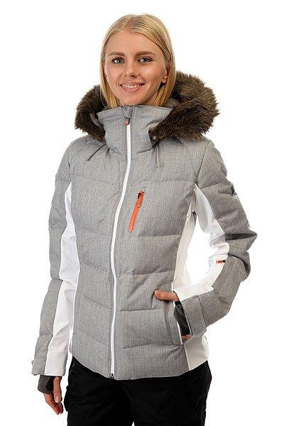 Куртка женская Roxy Snowstorm Mid Heather GreyСноубордическая куртка Roxy с водонепроницаемой мембраной 15к/10к, водоотталкивающей обработкой DWR и проклеенными швами обеспечит вам полную сухость. У куртки зауженный крой, а с утеплителем из 70% пуха и 30% пера (коэффициент качества пуха fill power - 600), ультралёгкой подкладкой из тафты и лайкровыми вставками можно забыть о прохладных поездках на подъёмнике. Характеристики:Водостойкая мембрана DRY-FLIGHT 15K. Утеплитель: 600 Fill Power (пух + перья). Боковые вставки из ультралегкой фактурной тафты и лайкры.<br><br>Цвет: серый,белый<br>Тип: Куртка утепленная<br>Возраст: Взрослый<br>Пол: Женский