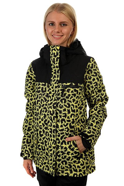 Куртка женская Roxy Rx Jetty Blo Jk Hattie Stewart ZigzaЕсли Вы начинающий сноубордист и для собственной безопасности хотите быть заметной на склоне - куртка Roxy Jetty Block отлично справится с подобной задачей. Если Вы совершенствующийся сноубордист и, катаясь во фрирайде, Вам необходимо быть легко различимой среди елок и белого паудера - ещё раз, Roxy Jetty Block. Функциональна, продуманна и вряд ли уступит по стилю и яркости какой-либо другой модели. В перечне важных характеристик находятся утеплитель Warmflight®, подкладка из тафты, проклеенные критические швы, снегозащитная юбка, многочисленные карманы, включая карман для ски-пасса, и вентиляционные отверстия с сетчатой подкладкой. Тепло, комфорт и свобода действий в одной из лучших моделей сезона с ярким принтом от художницы Хэтти Стюарт.&amp;nbsp;Характеристики:Влагостойкая ткань Dry Flight 10K.Утеплитель Warmflight®: 120 г тело / 100 г рукава / 60 г капюшон. Подкладка из тафты и трикотажа с начёсом. Стандартный крой. Проклеенные критические швы.Снегозащитная юбка. Система присоединения куртки к штанам. Регулируемый капюшон в 3-х направлениях. Мягкая подкладка в области шеи. Боковые карманы с теплой подкладкой. Нагрудный карман на молнии. Внутренний карман для маски.Медиа-карман. Карман для ски-пасса на молнии на рукаве. Регулируемые внешние манжеты на липучке. Вентиляционные отверстия с сетчатой подкладкой. Принт художницы мирового уровня Хэтти Стюарт.<br><br>Цвет: черный,желтый<br>Тип: Куртка утепленная<br>Возраст: Взрослый<br>Пол: Женский