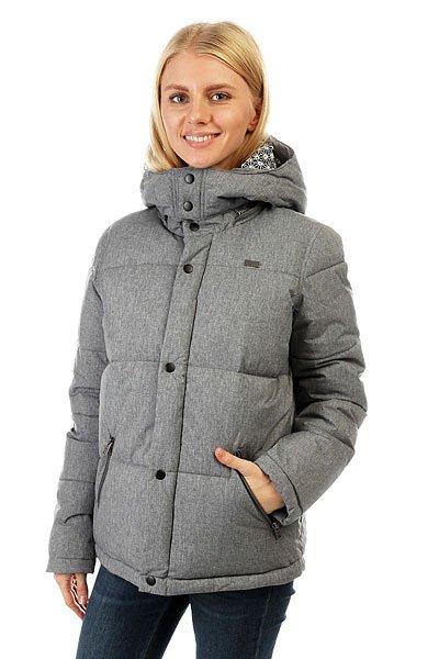 Куртка зимняя женская Roxy Barrika Heritage HeatherНепринужденность всегда привлекательна. Наверное, дело в том, что простота – высшая форма изысканности. Создавая вещи для занятия спортом и повседневной носки, в которых угадываются фитнес-мотивы, эта новая линейка делает ставку на выраженную женственность. Идеальное сочетание мягкой ткани, яркой графики и универсальных фасонов (а ROXY в этом спец!): эта коллекция создана для движения и ежесекундного прогресса.Характеристики:Скругленная линия подола. Подкладка с принтом. Карманы на молнии. Съемный капюшон. Водостойкая ткань с термополиуретановой пропиткой. Водостойкость 3K.<br><br>Цвет: серый<br>Тип: Куртка зимняя<br>Возраст: Взрослый<br>Пол: Женский