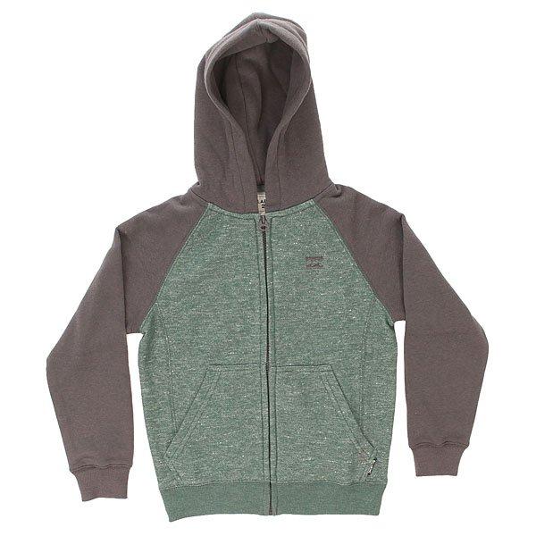 Толстовка классическая детская Billabong Balance Zip Hood Evergreen<br><br>Цвет: зеленый,серый<br>Тип: Толстовка классическая<br>Возраст: Детский