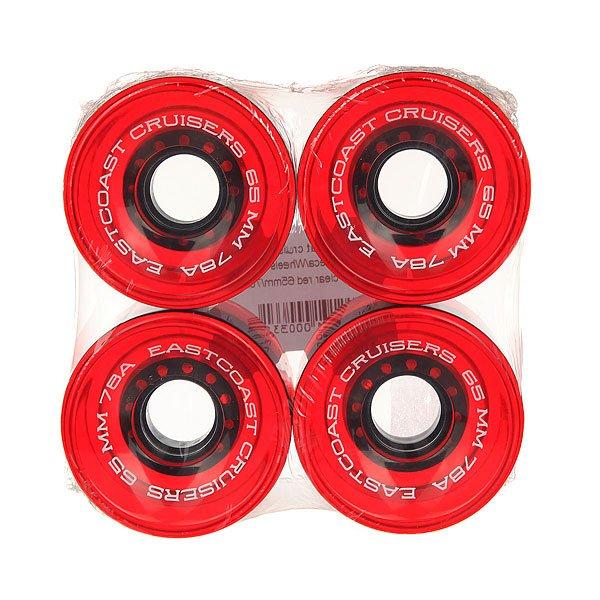 Колеса для скейтборда для лонгборда Eastcoast Shelby Clear Red 78A 65 mmДиаметр: 65 mm    Жесткость: 78A    Цена указана за комплект из 4-х колесКлассические колеса для лонгбордов и круизеров, мягкие и комфортные.Технические характеристики: Жесткость 78 А.Диаметр 65 мм.В комплекте 4 колеса.<br><br>Цвет: красный<br>Тип: Колеса для лонгборда<br>Возраст: Взрослый<br>Пол: Мужской