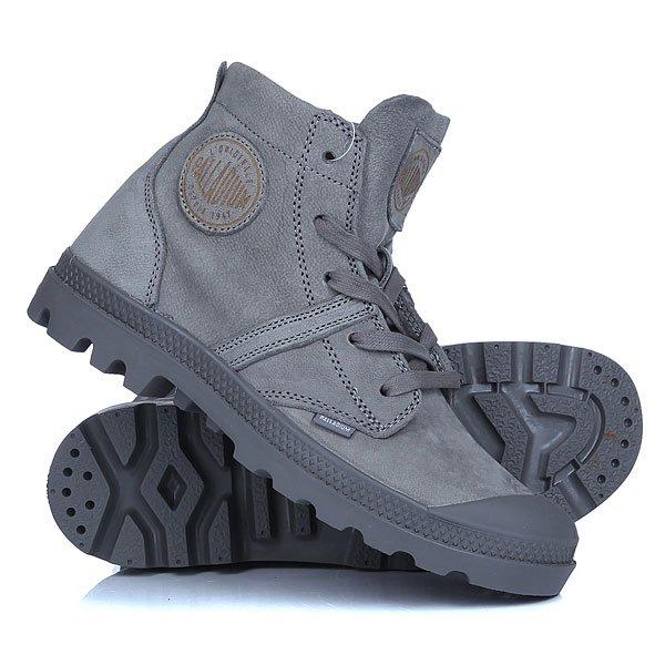 Ботинки высокие женские Palladium Pallabrouse Cml Gray Spa/Eiffel TowerПопулярный уличный стиль удачно воплощенный в ботинках Pallabrouse. Спортивная конструкция, которая удачно сочетается с первоклассными материалами, благодаря чему в ботинках будет комфортно в течении всего дня в любой сезон.Технические характеристики: Верх из кожи верблюда.Подкладка из нубука.Носок с резиновой накладкой для дополнительной защиты от износа.Высокая уплотненная пятка.Толстая формованная стелька из полиуретана для супер комфорта.Цельная литая резиновая подошва с EVA для мягкого шага.Ярлычок с гравированным логотипом Palladium.<br><br>Цвет: серый<br>Тип: Ботинки высокие<br>Возраст: Взрослый<br>Пол: Женский