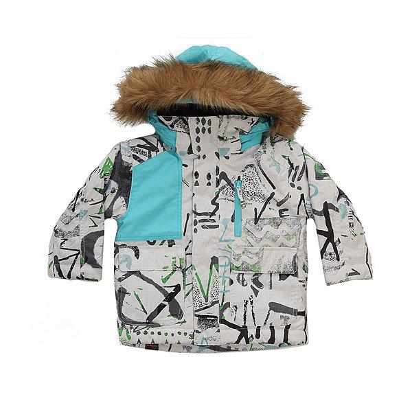 Куртка детская Quiksilver Flake Hieline WhiteСноубордическая куртка Flakes с технологией Mitt Keeper и утеплителем Warmflight® позволит сохранить уют и тепло даже в холодные дни. Теплая и мягкая подкладка, а также проклеенные швы создадут дополнительную защиту на открытых участках.Технические характеристики: Утеплитель Warmflight® (тело 200 г, рукава 120 г, капюшон 80 г).Подкладка из тафты и трикотажа с начесом.Критические швы проклеены.Удобный съемный капюшон, с которым легко справится ребенок.Съемная отделка из искусственного меха.Капюшон подходит для использования со шлемом.Рукава системы «на вырост» с регулируемой длиной.Возможность пристегнуть перчатки или варежки к рукавам куртки.Технология Mitt Keeper.Карман для скипасса на рукаве.Карманы для рук.Нагрудный карман.Фиксированная снежная юбка на кнопках.Манжеты с регулировкой на липучках.Застежка на молнии с ветрозащитным клапаном на липучках.<br><br>Цвет: белый,голубой<br>Тип: Куртка утепленная<br>Возраст: Детский