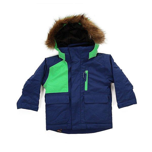 Куртка детская Quiksilver Flake Sodalite BlueСноубордическая куртка Flakes с технологией Mitt Keeper и утеплителем Warmflight® позволит сохранить уют и тепло даже в холодные дни. Теплая и мягкая подкладка, а также проклеенные швы создадут дополнительную защиту на открытых участках.Технические характеристики: Утеплитель Warmflight® (тело 200 г, рукава 120 г, капюшон 80 г).Подкладка из тафты и трикотажа с начесом.Критические швы проклеены.Удобный съемный капюшон, с которым легко справится ребенок.Съемная отделка из искусственного меха.Капюшон подходит для использования со шлемом.Рукава системы «на вырост» с регулируемой длиной.Возможность пристегнуть перчатки или варежки к рукавам куртки.Технология Mitt Keeper.Карман для скипасса на рукаве.Карманы для рук.Нагрудный карман.Фиксированная снежная юбка на кнопках.Манжеты с регулировкой на липучках.Застежка на молнии с ветрозащитным клапаном на липучках.<br><br>Цвет: зеленый,синий<br>Тип: Куртка утепленная<br>Возраст: Детский