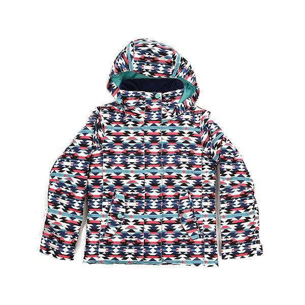 Куртка детская Roxy Rx Jet Geofluo Blue PrintПокоряйте склоны новыми яркими принтами от Roxy! Куртка для девочек, разработанная с мембраной DryFlight® 10 К для надежной водонепроницаемой и дышащей защиты, которая удачно дополнена легким утеплителем Warmflight® и проклеенными швами в самых уязвимых местах.Технические характеристики: Технологичная саржа из полиэстера.Утеплитель Warmflight®.Подкладка из тафты.Критические швы проклеены.Фиксированный капюшон.Капюшон совместим со шлемом.Фиксированная снежная юбка из тафты с удобными кнопками.Карманы для рук с теплой подкладкой.Карман для скипасса на рукаве.Манжеты с регулировкой на липучках.Подол на утяжке для защиты от ветра.<br><br>Цвет: мультиколор<br>Тип: Куртка утепленная<br>Возраст: Детский