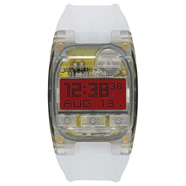 Электронные часы Nixon Comp S JellyfishЭти часы готовы стать Вашим идеальным компаньоном для ежедневных дел, приключений и самых экстремальных занятий спортом. Ультра-тонкий 8-миллиметровый корпус делает эти часы практически незаметными, афункция блокировки кнопок во время работы таймера обратного отсчета и хронографа добавит еще больше удобства во время активного отдыха на природе или энергичного времяпрепровождения в городе.Характеристики:Механизм:Ультра-тонкий цифровой модуль. Японский механизм. Функции: часы, минуты, секунды, дата, 12/24-часовое отображение времени, хронограф, таймер, двойное время (хронограф и таймер обратного отсчета имеют функцию блокировки для их непрерывной работы). Дисплей: функция инвертирования ЖК-дисплея. Ультра-тонкая люминисцентная подсветка.Корпус:Тип:цельный прозрачный корпус с привинчиваемой крышкой с кнопками из поликарбоната. Материал: прочный термо-пластик PMMA устойчивый к царапинам. Тройное уплотнение кнопок. Закаленные стальные болты.Крышка из нержавеющей стали. Водонепроницаемость: 100 метров / 10 ATM.Браслет:Силиконовый ремешок конической формы. Прочная пряжка из нержавеющей стали.<br><br>Цвет: белый<br>Тип: Электронные часы<br>Возраст: Взрослый<br>Пол: Мужской