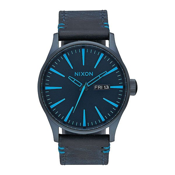 Кварцевые часы Nixon Sentry Leather All Dark Bluee часы nixon re run leather all black