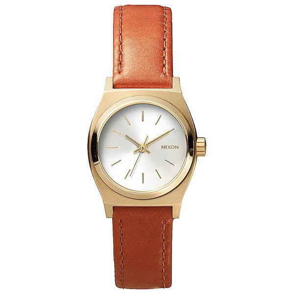 Кварцевые часы женские Nixon Time Teller Leather Light Gold/Saddle