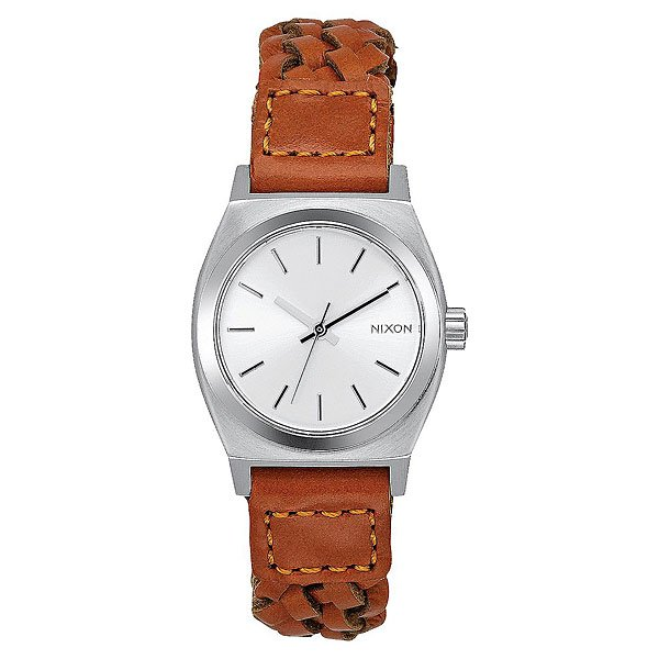 Кварцевые часы женские Nixon Small Time Teller Leather Saddle Woven