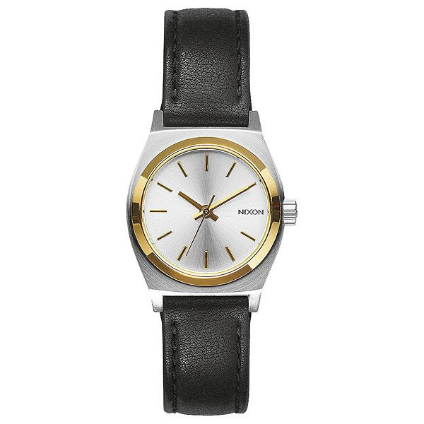 Кварцевые часы женские Nixon Small Time Teller Leather Silver/Gold/Black