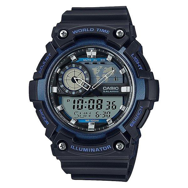 Электронные часы Casio Collection Aeq-200w-2aНаручные часы с цифроаналоговой индикацией для активного отдыха. Надежные и недорогие. Прочный пластиковый корпус, водостойкость до 100 метров. Многофункциональный кварцевый механизм, батарея со сроком службы 6 лет, яркая светодиодная подсветка.Характеристики:Многофункциональный кварцевый механизм, модуль 5472 с двойной цифро-аналоговой индикацией при помощи многофункциональных стрелок и на жидкокристаллическом дисплее. Точность хода не хуже +/-30 секунд в месяц. Элемент питания CR2016 рассчитан на 6 лет работы.Светодиодная LED-подсветка срабатывает при нажатии на функциональную кнопку.Отображение мирового времени в 31 часовом поясе с отображением 48 основных городов в этих зонах. Жидкокристаллический дисплей с отображением на схематической карте текущего часового пояса, время в котором отображается на данный момент в качестве двойного. Секундомер с точностью показаний 1/100 сек и максимальным временем измерения 24 часа. Таймер обратного отсчета на 24 часа с точностью 1 секунда. 5 ежедневных будильников, устанавливаемых на определенное время. Вкл./Откл. звука кнопок. Автоматический календарь, не требующий дополнительной корректировки, может быть настроен по 2099 год. Отображение времени в 12/24 часовом формате. Дизайн корпуса напоминает знаменитые ударопрочные модели марки и защищает стекло часов от повреждений. Комбинированный корпус выполнен из прочного полимерного материала и имеет комбинированную конструкцию. Полимерное стекло устойчивое к возникновению царапин и ударам. Циферблат минимализирован и оставляет место для жидкокристаллических дисплеев. Люминесцентный состав на стрелках и часовых метках с ярким послесвечением даже после кратковременного воздействия света. Задняя крышка из нерж. стали с гравировкой соединена с корпусом 4 винтами. Водостойкость 100 метров. Ремешок из полимерного материала, стандартная застежка с шипом.<br><br>Цвет: черный,синий<br>Тип: Электронные часы<br>Возраст: Взрослый