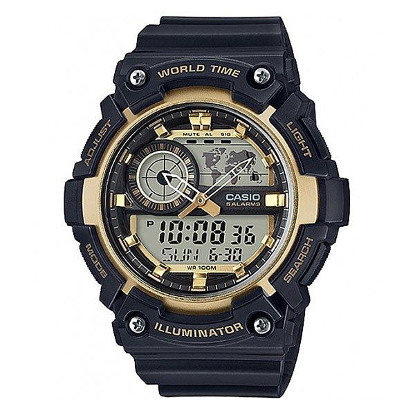 Электронные часы Casio Collection Aeq-200w-9aНаручные часы с цифроаналоговой индикацией для активного отдыха. Надежные и недорогие. Прочный пластиковый корпус, водостойкость до 100 метров. Многофункциональный кварцевый механизм, батарея со сроком службы 6 лет, яркая светодиодная подсветка.Характеристики:Многофункциональный кварцевый механизм, модуль 5472 с двойной цифро-аналоговой индикацией при помощи многофункциональных стрелок и на жидкокристаллическом дисплее. Точность хода не хуже +/-30 секунд в месяц. Элемент питания CR2016 рассчитан на 6 лет работы.Светодиодная LED-подсветка срабатывает при нажатии на функциональную кнопку.Отображение мирового времени в 31 часовом поясе с отображением 48 основных городов в этих зонах. Жидкокристаллический дисплей с отображением на схематической карте текущего часового пояса, время в котором отображается на данный момент в качестве двойного. Секундомер с точностью показаний 1/100 сек и максимальным временем измерения 24 часа. Таймер обратного отсчета на 24 часа с точностью 1 секунда. 5 ежедневных будильников, устанавливаемых на определенное время. Вкл./Откл. звука кнопок. Автоматический календарь, не требующий дополнительной корректировки, может быть настроен по 2099 год. Отображение времени в 12/24 часовом формате. Дизайн корпуса напоминает знаменитые ударопрочные модели марки и защищает стекло часов от повреждений. Комбинированный корпус выполнен из прочного полимерного материала и имеет комбинированную конструкцию. Полимерное стекло устойчивое к возникновению царапин и ударам. Циферблат минимализирован и оставляет место для жидкокристаллических дисплеев. Люминесцентный состав на стрелках и часовых метках с ярким послесвечением даже после кратковременного воздействия света. Задняя крышка из нерж. стали с гравировкой соединена с корпусом 4 винтами. Водостойкость 100 метров. Ремешок из полимерного материала, стандартная застежка с шипом.<br><br>Цвет: черный,желтый<br>Тип: Электронные часы<br>Возраст: Взрослый