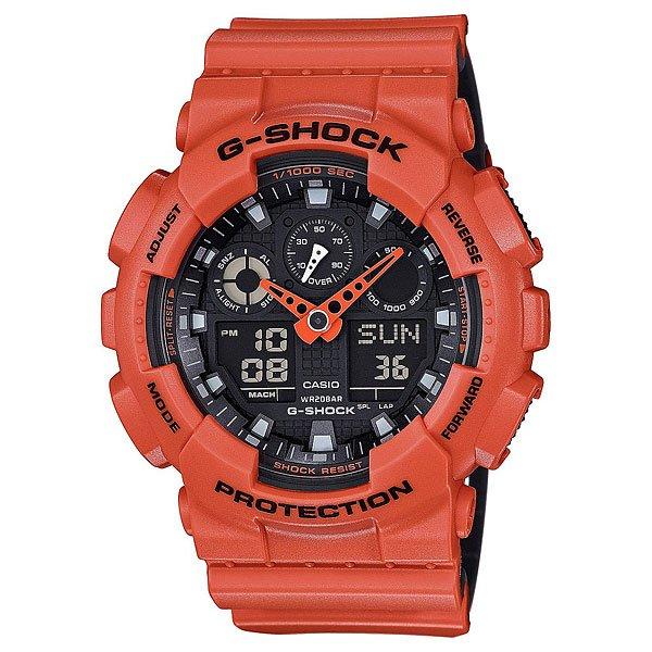 Электронные часы Casio G-shock Ga-100l-4aПользующиеся наибольшей популярностью ударопрочные, магнитоустойчивые и водостойкие часы. Многофункциональный японский механизм с цифроаналоговой индикацией.Характеристики:Кварцевый механизм, модуль 5081, с двойной цифро-аналоговой индикацией на жидкокристаллическом дисплее и при помощи центральных стрелок. Точность хода: не хуже +/-15 секунд в месяц. Автоматическая светодиодная LED-подсветка дисплея активируется как при нажатии соответствующей кнопки, так и при подъеме и повороте руки. Секундомер с точностью показаний 1/1000 сек и максимальным временем измерения 100 часов. Отображение средней скорости пройденного маршрута. Просто введите расстояние на начало и нажмите на секундомер при достижении пункта назначения - будет отображена средняя скорость. Таймер обратного отсчета с функций повтора, рассчитанный на время до 24 часов. Отображение времени в 48 часовых поясах с обозначением основных городов в этих зонах. Ежечасный сигнал и 5 ежедневных будильников, один с функцией повтора «snooze». Автоматический календарь не требует дополнительных настроек и показывает дату, день недели и месяц, которые могут быть настроены вплоть до 2039 года. Отображение текущего времени в 12 или 24-часовом формате. Элемент питания CR1220 рассчитан на 2 года работы. Комбинированный корпус фирменный для G-Shock из полимерного кожуха и стального внутреннего контейнера.Минеральное стекло устойчивое к возникновению царапин. Корпус часов специально спроектирован с повышенной устойчивостью к воздействию магнитных полей.Водостойкость 200 метров (20 атм). Полимерный ремешок прочный и долговечный с простой застежкой.<br><br>Цвет: оранжевый<br>Тип: Электронные часы