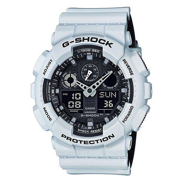 Электронные часы Casio G-shock Ga-100l-7aПользующиеся наибольшей популярностью ударопрочные, магнитоустойчивые и водостойкие часы. Многофункциональный японский механизм с цифроаналоговой индикацией.Характеристики:Кварцевый механизм, модуль 5081, с двойной цифро-аналоговой индикацией на жидкокристаллическом дисплее и при помощи центральных стрелок. Точность хода: не хуже +/-15 секунд в месяц. Автоматическая светодиодная LED-подсветка дисплея активируется как при нажатии соответствующей кнопки, так и при подъеме и повороте руки. Секундомер с точностью показаний 1/1000 сек и максимальным временем измерения 100 часов. Отображение средней скорости пройденного маршрута. Просто введите расстояние на начало и нажмите на секундомер при достижении пункта назначения - будет отображена средняя скорость. Таймер обратного отсчета с функций повтора, рассчитанный на время до 24 часов. Отображение времени в 48 часовых поясах с обозначением основных городов в этих зонах. Ежечасный сигнал и 5 ежедневных будильников, один с функцией повтора «snooze». Автоматический календарь не требует дополнительных настроек и показывает дату, день недели и месяц, которые могут быть настроены вплоть до 2039 года. Отображение текущего времени в 12 или 24-часовом формате. Элемент питания CR1220 рассчитан на 2 года работы. Комбинированный корпус фирменный для G-Shock из полимерного кожуха и стального внутреннего контейнера.Минеральное стекло устойчивое к возникновению царапин. Корпус часов специально спроектирован с повышенной устойчивостью к воздействию магнитных полей.Водостойкость 200 метров (20 атм). Полимерный ремешок прочный и долговечный с простой застежкой.<br><br>Цвет: белый<br>Тип: Электронные часы<br>Возраст: Взрослый