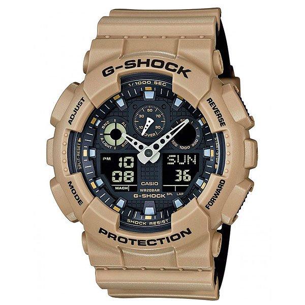 Электронные часы Casio G-shock Ga-100l-8aПользующиеся наибольшей популярностью ударопрочные, магнитоустойчивые и водостойкие часы. Многофункциональный японский механизм с цифроаналоговой индикацией.Характеристики:Кварцевый механизм, модуль 5081, с двойной цифро-аналоговой индикацией на жидкокристаллическом дисплее и при помощи центральных стрелок. Точность хода: не хуже +/-15 секунд в месяц. Автоматическая светодиодная LED-подсветка дисплея активируется как при нажатии соответствующей кнопки, так и при подъеме и повороте руки. Секундомер с точностью показаний 1/1000 сек и максимальным временем измерения 100 часов. Отображение средней скорости пройденного маршрута. Просто введите расстояние на начало и нажмите на секундомер при достижении пункта назначения - будет отображена средняя скорость. Таймер обратного отсчета с функций повтора, рассчитанный на время до 24 часов. Отображение времени в 48 часовых поясах с обозначением основных городов в этих зонах. Ежечасный сигнал и 5 ежедневных будильников, один с функцией повтора «snooze». Автоматический календарь не требует дополнительных настроек и показывает дату, день недели и месяц, которые могут быть настроены вплоть до 2039 года. Отображение текущего времени в 12 или 24-часовом формате. Элемент питания CR1220 рассчитан на 2 года работы. Комбинированный корпус фирменный для G-Shock из полимерного кожуха и стального внутреннего контейнера.Минеральное стекло устойчивое к возникновению царапин. Корпус часов специально спроектирован с повышенной устойчивостью к воздействию магнитных полей.Водостойкость 200 метров (20 атм). Полимерный ремешок прочный и долговечный с простой застежкой.<br><br>Цвет: коричневый,бежевый<br>Тип: Электронные часы