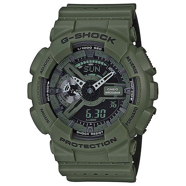 Электронные часы Casio G-shock Ga-110lp-3aЧасы наручные серии Casio G-Shock.G-Shock - ударопрочная конструкция защищает от ударов и вибрации. Характеристики:Кварцевые наручные часы.Экран: Стрелки + электроника. Корпус: Пластик. Ремешок: Резиновый (каучуковый). Стекло: Минеральное. Водозащита: 200м. Светодиодная автоподсветка.Будильник: 5 независимых будильников + возможность ежечасного сигнала + функция будильник с повтором через несколько минут. Секундомер с точностью до 1/1000 секунды. Таймер обратного отсчета с функцией повтора. Режим Мирового времени: Обеспечивает отображение текущего времени в некоторых городах и определенных регионах мира. Полностью автоматический календарь. 12- и 24-часовой формат времени.<br><br>Цвет: зеленый<br>Тип: Электронные часы