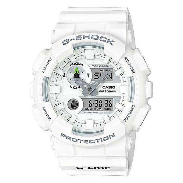 Электронные часы Casio G-shock Gax-100a-7aПляжный сезон уже набрал обороты, поэтому Casio выпустил часы для серферов и любителей экстремальных видов спорта.Характеристики:Противоударный корпусзащищает механизм от ударов и вибрации. Защищены от магнитных полей. Циферблат подсвечивается светодиодом, функция автоподсветки освещает циферблат при повороте часов к лицу. Встроенный датчик температуры от -10° до +60°С с точностью 0,1°C. Отображение возраста ифазы Луны. Графическое отображение сведений о приливах и отливах.Мировое время– 48 городов (29 часовых поясов), всемирное координированное время (UTC). Функция включения/отключения летнего времени. 12-ти и 24-х часовой форматвремени. Секундомер с точностью показаний 1/100с и временем измерения 1000ч.Сплит-хронограф.Таймеробратного отсчета от 1мин до 24ч. Функция включения/отключения звука.<br><br>Цвет: белый<br>Тип: Электронные часы<br>Возраст: Взрослый