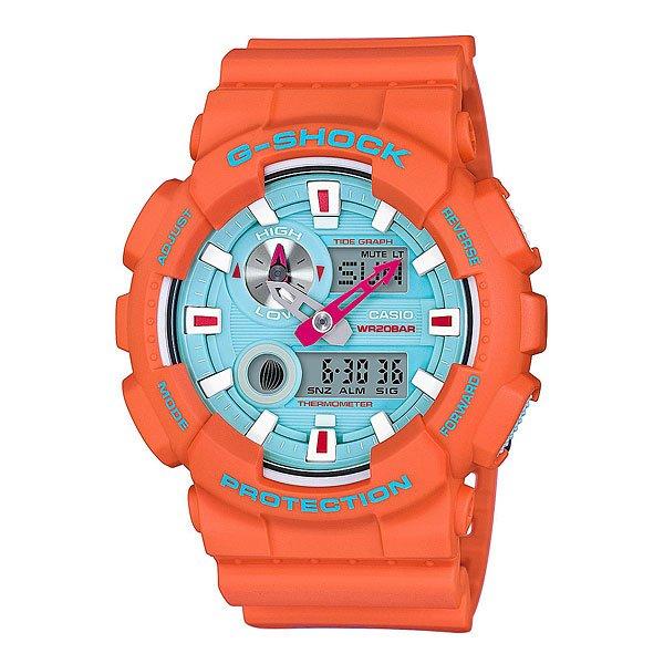 Электронные часы Casio G-shock Gax-100x-4aПляжный сезон уже набрал обороты, поэтому Casio выпустил часы для серферов и любителей экстремальных видов спорта.Характеристики:Противоударный корпусзащищает механизм от ударов и вибрации. Защищены от магнитных полей. Циферблат подсвечивается светодиодом, функция автоподсветки освещает циферблат при повороте часов к лицу. Встроенный датчик температуры от -10° до +60°С с точностью 0,1°C. Отображение возраста ифазы Луны. Графическое отображение сведений о приливах и отливах.Мировое время– 48 городов (29 часовых поясов), всемирное координированное время (UTC). Функция включения/отключения летнего времени. 12-ти и 24-х часовой форматвремени. Секундомер с точностью показаний 1/100с и временем измерения 1000ч.Сплит-хронограф.Таймеробратного отсчета от 1мин до 24ч. Функция включения/отключения звука.<br><br>Цвет: оранжевый<br>Тип: Электронные часы<br>Возраст: Взрослый