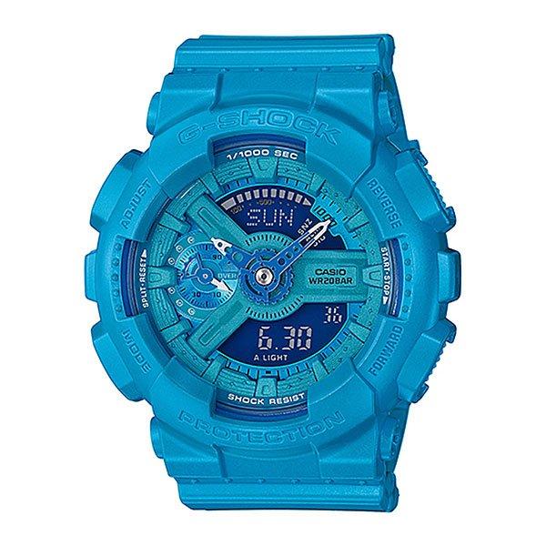 Электронные часы Casio G-shock Gma-s110vc-2aВсе преимущества ударопрочных, магнитоустойчивых и многофункциональных часов в уменьшенном корпусе. Оптимальный вариант для подростков и юных экстремалов, оснащенный секундомером, календарем, будильником и таймером. Различные цветовые решения.Характеристики:Кварцевый механизм, модуль 5425, с двойной цифро-аналоговой индикацией на жидкокристаллическом дисплее и при помощи центральных стрелок. Элемент питания CR1220 рассчитан на 2 года работы. Точность хода не хуже +/-15 секунд в месяц. Автоматическая светодиодная LED-подсветка дисплея активируется как при нажатии соответствующей кнопки, так и при подъеме и повороте руки.Янтарный цвет подсветки. Отображение времени в 48 часовых поясах с обозначением основных городов в этих временных зонах. Секундомер с точностью показаний 1/1000 сек и максимальным временем измерения 100 часов. Отображение средней скорости пройденного маршрута. Просто введите расстояние на начало и нажмите на секундомер при достижении пункта назначения - будет отображена средняя скорость.Таймер обратного отсчета с функций повтора, рассчитанный на время до 24 часов. С функцией автоповтора. Ежечасный сигнал и 5 ежедневных будильников, один с функцией повтора «snooze». Автоматический календарь не требует дополнительных настроек и показывает дату, день недели и месяц, которые могут быть настроены вплоть до 2099 года.Отображение текущего времени в 12 или 24-часовом формате. Комбинированный корпус с фирменной для G-Shock конструкцией из полимерного кожуха и стального внутреннего контейнера из нерж. стали. Минеральное стекло устойчивое к возникновению царапин. Корпус часов специально спроектирован с повышенной устойчивостью к воздействию магнитных полей. Водостойкость 200 метров (20 АТМ). Полимерный ремешок - прочный и долговечный, стандартная застежка с шипом.<br><br>Цвет: голубой<br>Тип: Электронные часы