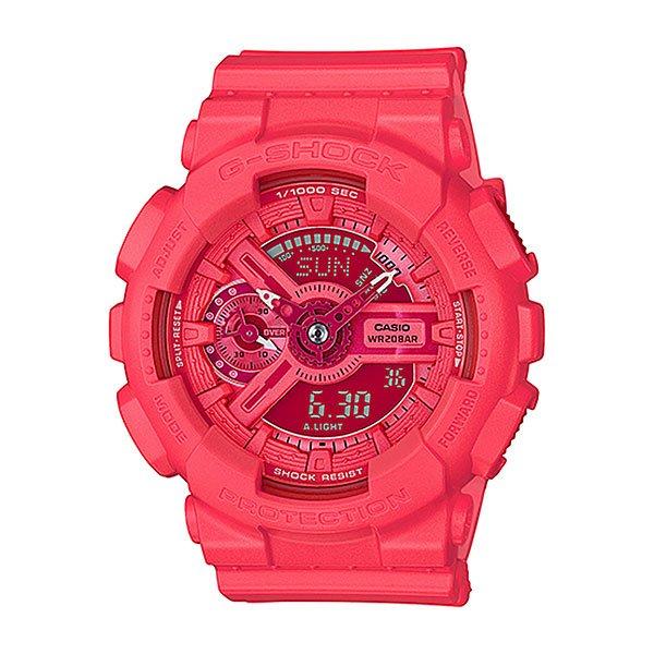 Электронные часы Casio G-shock Gma-s110vc-4aВсе преимущества ударопрочных, магнитоустойчивых и многофункциональных часов в уменьшенном корпусе. Оптимальный вариант для подростков и юных экстремалов, оснащенный секундомером, календарем, будильником и таймером. Различные цветовые решения.Характеристики:Кварцевый механизм, модуль 5425, с двойной цифро-аналоговой индикацией на жидкокристаллическом дисплее и при помощи центральных стрелок. Элемент питания CR1220 рассчитан на 2 года работы. Точность хода не хуже +/-15 секунд в месяц. Автоматическая светодиодная LED-подсветка дисплея активируется как при нажатии соответствующей кнопки, так и при подъеме и повороте руки.Янтарный цвет подсветки. Отображение времени в 48 часовых поясах с обозначением основных городов в этих временных зонах. Секундомер с точностью показаний 1/1000 сек и максимальным временем измерения 100 часов. Отображение средней скорости пройденного маршрута. Просто введите расстояние на начало и нажмите на секундомер при достижении пункта назначения - будет отображена средняя скорость.Таймер обратного отсчета с функций повтора, рассчитанный на время до 24 часов. С функцией автоповтора. Ежечасный сигнал и 5 ежедневных будильников, один с функцией повтора «snooze». Автоматический календарь не требует дополнительных настроек и показывает дату, день недели и месяц, которые могут быть настроены вплоть до 2099 года.Отображение текущего времени в 12 или 24-часовом формате. Комбинированный корпус с фирменной для G-Shock конструкцией из полимерного кожуха и стального внутреннего контейнера из нерж. стали. Минеральное стекло устойчивое к возникновению царапин. Корпус часов специально спроектирован с повышенной устойчивостью к воздействию магнитных полей. Водостойкость 200 метров (20 АТМ). Полимерный ремешок - прочный и долговечный, стандартная застежка с шипом.<br><br>Цвет: красный,розовый<br>Тип: Электронные часы