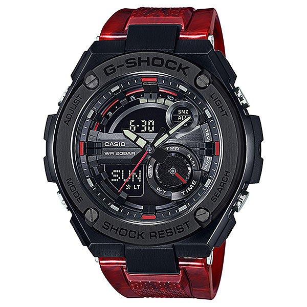 Электронные часы Casio G-shock Gst-210m-4aТоповые ударопрочные часы из новой серии G-STEEL имеют все преимущества знаменитых G-Shock и дополнительный запас прочности, в соответствии с концепцией The Layer Guard Structure. Многофункциональный механизм с цифроаналоговой индикацией.Характеристики:Многофункциональный кварцевый механизм, модуль 5475 с двойной цифро-аналоговой индикацией при помощи многофункциональных стрелок и на жидкокристаллическом дисплее. Точность хода не хуже +/-15 секунд в месяц. Элементы питания – две батарейки SR927W рассчитаны на 2 года работы. Суперяркая LED-подсветка при помощи ярких светодиодов. Автоматическая подсветка срабатывает при подъеме и повороте руки, а так же при нажатии на кнопку.Отображение мирового времени в 31 часовом поясе с отображением 48 основных городов в этих зонах. Секундомер с точностью показаний 1/100 сек и максимальным временем измерения 24 часа. Таймер обратного отсчета на 60 минут с точностью в 1 секунду. 5 ежедневных будильников, устанавливаемых на определенное время, ежечасный сигнал. Вкл./Откл. звука кнопок. Установка времени свечения подсветки от 1 до 3 секунд. Автоматический календарь, не требующий дополнительной корректировки, может быть настроен по 2099 год. Отображение времени в 12/24 часовом формате.Особая ударопрочная конструкция корпуса защищает механизм-модуль часов от ударов и вибрации. Комбинированный корпус выполнен из нерж. стали 316L с покрытием и композитного полимерного материала. Минеральное стекло устойчивое к возникновению царапин. Рельефный циферблат, большие часовые метки.Люминесцентный состав на стрелках и часовых метках с ярким послесвечением даже после кратковременного воздействия света. Литая задняя крышка из нерж. стали с гравировкой соединена с корпусом 4 винтами. Водостойкость 200 метров. Литой браслет из нерж. стали с покрытием цвета золота, браслетная застежка раскладывающаяся при нажатии на соответствующие кнопки.<br><br>Цвет: черный,красный<br>Тип: Электронные часы