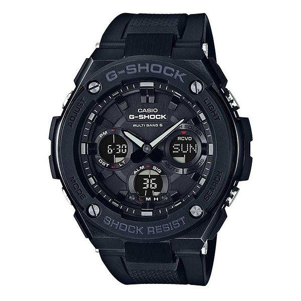 Электронные часы Casio G-shock Gst-w100g-1bУдаропрочные и водостойкие наручные часы с исполнением премиум-класса, современный дизайн. Комбинированный корпус из нерж.стали и полимерного материала. Цифроаналоговая индикация, подстройка времени по радиосигналу, мировое время, солнечные батареи.Характеристики:Кварцевый механизм, модуль 5444, с двойной цифроаналоговой индикацией, который управляется 4 кнопками и работает от энергии солнечного света по технологии Tough Solar. Точность хода с погрешностью +/- 15 сек в месяц. Подстройка показаний часов по радиосигналам точного времени (автоматический прием до 6 раз в день или прием вручную). Функция мирового времени.Функция секундомера с точностью измерений 1/100 сек. и общим временем 1 час. Таймер обратного отчета с диапазоном от 1 минуты до 100 минут. 5 ежедневных будильников и ежечасный сигнал. Функция перемещения стрелок – при нажатии на кнопки стрелки перемещаются в положение, позволяющее видеть информацию на маленьких цифровых дисплеях. Включение/выключение звука кнопок. Автоматический календарь.Отображение времени в 12/24-часовом формате. Сверхяркая электрическая подсветка с регулируемым временем свечения от 1,5 до 3 секунд. Полностью автоматическая светодиодная LED-подсветка дисплея активируется как при нажатии соответствующей кнопки, так и при подъеме и повороте руки при недостаточной освещенности. Комбинированный корпус, с ударопрочной конструкцией выполнен из полимерного материала и элементов из нерж. стали, имеет дополнительно защиту от воздействия вибрации. Корпус часов специально спроектирован с повышенной устойчивостью к воздействию вибрации. Безель из нержавеющей стали с синим IP-покрытием. Минеральное стекло устойчивое к возникновению царапин. Объемный циферблат, 3D метки и стрелки с необритовым покрытием имеющим долгое послесвечение.Водостойкость 200 метров (20 АТМ). Комбинированный ремешок из полимерного материала армированного карбоновым волокном - прочный и долговечный, стандартная застежкой. Браслет с 