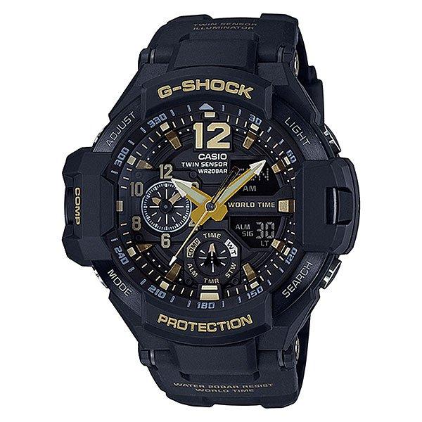 Электронные часы Casio G-shock Premium Ga-1100gb-1aУдаропрочные и водостойкие наручные часы с исполнением премиум-класса, авиационный дизайн. Комбинированный корпус из нерж.стали и полимерного материала. Цифроаналоговая индикация, отображение показаний компаса и термометра, мировое время.Характеристики:Кварцевый механизм, модуль 5441, с двойной цифроаналоговой индикацией, который управляется 5 кнопками и работает от двух батареек SR927W в течение 2 лет. Точность хода с погрешностью +/- 15 сек в месяц. Цифровой компас. Термометр с диапазоном измерений от -10 до +60°C). Функция мирового времени. Постоянное отображение времени второго часового пояса на маленьком индикаторе около отметки «9 часов». Функция секундомера с точностью измерений 1/100 сек. и общим временем 1 час. Таймер обратного отчета с диапазоном от 1 минуты до 1 часа. 5 ежедневных будильников и ежечасный сигнал. Функция перемещения стрелок – при нажатии на кнопки стрелки перемещаются в положение, позволяющее видеть информацию на маленьких цифровых дисплеях. Включение/выключение звука кнопок.Автоматический календарь. Отображение времени в 12/24-часовом формате.Сверх яркая электрическая подсветка с регулируемым временем свечения от 1,5 до 3 секунд. Комбинированный корпус, с ударопрочной конструкцией выполнен из полимерного материала и, имеет дополнительно защиту от воздействия вибрации. Корпус часов специально спроектирован с повышенной устойчивостью к воздействию вибрации.Безель из нержавеющей стали с черным IP-покрытием. Минеральное стекло устойчивое к возникновению царапин. Объемный циферблат, 3D метки и стрелки с необритовым покрытием имеющим долгое послесвечение. Водостойкость 200 метров (20 атм). Полимерный ремешок прочный и долговечный, литая застежка с шипом.<br><br>Цвет: черный<br>Тип: Электронные часы<br>Возраст: Взрослый