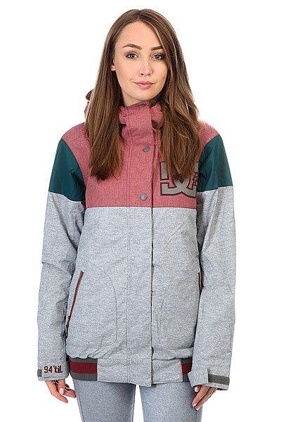 Куртка женская DC Dcla Heather PewterЕсли у Вас есть любимая куртка в стиле формы американских колледж-курток, то у Вас есть шанс обзавестись зимним вариантом, выгодно отличающимся не только утеплителем, но и влагостойкой тканью Exotex 10K. Функциональная куртка DC DCLA снабжена дополнительными манжетами из лайкры и снегозащитной юбкой, поэтому Вы наверняка сможете избежать попадания снега под одежду, а высокий ворот и регулируемый капюшон несомненно порадуют Вас в ветреную погоду и метель.Технические характеристики: Мембрана EXOTEX 10.Плечевые панели из технологичного текстиля кареточного плетения.Теплая и уютная подкладка из тафты.Утеплитель (тело 80 г, рукава 40 г).Критические швы проклеены.Вставки из сетки для воздухообмена.Капюшон с регулировкой.Фиксированная снежная юбка на кнопках.Система пристегивания куртки к штанам.Эластичный подол с полосатым принтом.Внутренние манжеты из лайкры с отверстиями для пальцев.Эргономичные рукава.Выход для провода наушников.Карманы для рук.Кармашек для скипасса на молнии на рукаве.Внутренний карман для маски.Манжеты с регулировкой на липучках.Застежка на молнии с ветрозащитным клапаном на липучках.<br><br>Цвет: бордовый,серый,зеленый<br>Тип: Куртка утепленная<br>Возраст: Взрослый<br>Пол: Женский