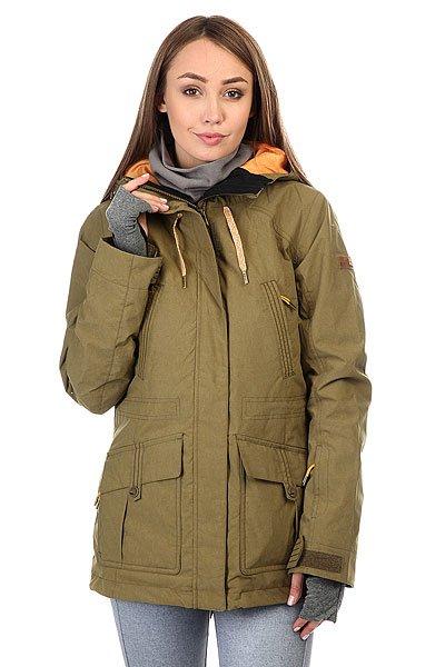 Куртка женская Roxy Tribe Military OliveТехнологичная сноубордическая куртка Tribe из прочного нейлона с утеплителем Thinsulate™ Type M, заботливо дополненная специальным воротником, пропитанным косметическим составом от ROXY&amp;BIOTHERM.Технические характеристики: Прочный нейлон с мембраной DryFlight®.Утеплитель Thinsulate™ Type M (тело 60 г, рукава и капюшон 40 г).Подкладка из тафты со вставками из трикотажа с начесом.Критические швы проклеены.Три способа регулировки капюшона.Фиксированный капюшон.Снежная юбка.Система пристегивания куртки к штанам.Подкладка в районе подбородка.Нагрудные карманы.Внутренний медиа карман.Внутренний карман для маски.Брелок для ключей.Длинные внутренние манжеты, позволяющие быстро согреть руки.Карман для скипасса на рукаве.Карманы для рук с теплой подкладкой.Манжеты с регулировкой на липучках.Сеточная вентиляция на молнии.Талия и подол на утяжке для защиты от ветра.В комплект входит утеплитель для шеи из косметического текстиля Enjoy &amp; Care.Застежка на молнии с ветрозащитным клапаном на липучках.<br><br>Цвет: зеленый<br>Тип: Куртка утепленная<br>Возраст: Взрослый<br>Пол: Женский