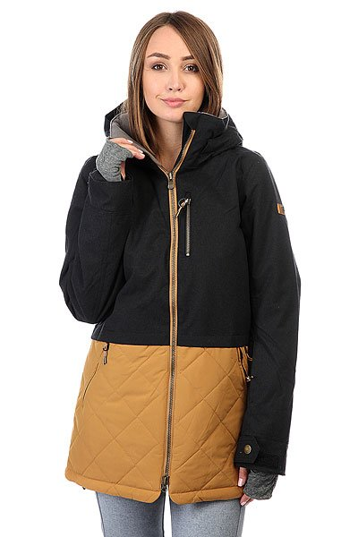 Куртка женская Roxy Hartley True BlackКатальная экипировка для бесконечных сессий в парке, вдохновение для создания которой Roxy черпали в уличной моде и уличной культуре. Коллекция Treeline – это высокотехнологичная одежда с функциональной и городской эстетикой, современная и стильная. Она дарит защиту от непогоды благодаря технологии водостойкости DRYFLIGHT и поможет каждой из Вас добиться явного прогресса этой зимой!Технические характеристики: Утеплитель Thinsulate™ type M.Мембрана DryFlight®.Подкладка из тафты со вставками из трикотажа с начесом.Критические швы проклеены.Регулируемый фиксированный капюшон.Фиксированная снежная юбка из тафты с удобными кнопками.Система пристегивания куртки к штанам.Подкладка в районе подбородка.Нагрудный карман.Внутренний медиа карман.Внутренний карман для маски.Брелок для ключей.Длинные внутренние манжеты, позволяющие быстро согреть пальцы.Карман для скипасса на рукаве.Сеточная вентиляция на молнии.Карманы с теплой подкладкой.Манжеты с регулировкой на липучках.Молнии YKK® Metaluxe®.Подол на утяжке для защиты от ветра.Застежка на металлической молнии.Воротник из косметического текстиля Enjoy &amp; Care.<br><br>Цвет: черный,коричневый<br>Тип: Куртка утепленная<br>Возраст: Взрослый<br>Пол: Женский