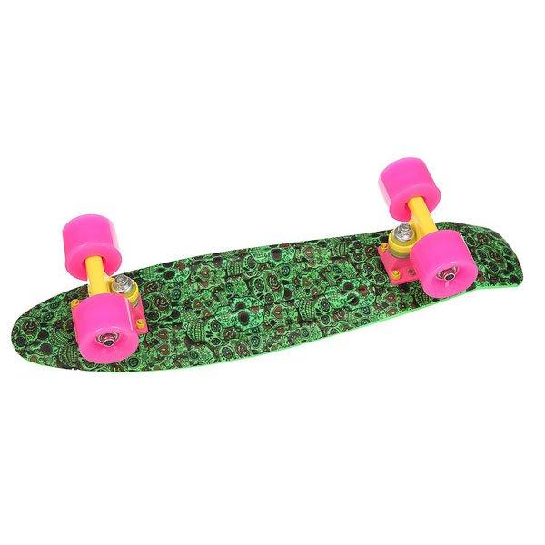 Скейт мини круизер Union Neon Frog Skulls Fases Green/Multi 6 x 22.5 (57.2 см)Уникальный круизер от Union для города или скейт парка. Гибкий круизер порадует Вас своим компактным размером и отличной управляемостью!Технические характеристики: Длина - 57,2 см, ширина - 15,3 см.Автомобилепрочный - отличается высокой гибкостью и прочностью, не сломается, даже если на него случайно наедет автомобиль!Большие мягкие колёса Вираж 59 мм 83А.Подвески ЮНИОН из прочного алюминиевого сплава.Скоростные подшипники ЮНИОН ABEC7.<br><br>Цвет: зеленый,мультиколор<br>Тип: Скейт мини круизер