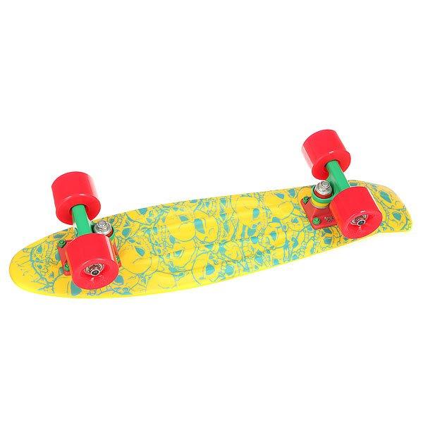 Скейт мини круизер Union Jah Skulls Yellow/Light Blue 6 x 22.5 (57 см)