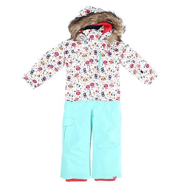 Комбинезон сноубордический детский Roxy Paradise Suit K Snsu Little Owl_bright WhROXY и Улица Сезам в этом сезоне представляют совместную коллекцию катальной экипировки, главным героем которой стал всеобщий любимец Элмо! Интересный и функциональный комбинезон  с мембраной DryFlight® 10K и утеплителем  WarmFlight®, которые укутают теплом юного покорителя снежных вершин.Технические характеристики: Технологичная саржа из полиэстера.Водостойкая и дышащая мембрана ROXY DryFlight® 10K.Утеплитель Warmflight® - искусственный утеплитель обладающий легким весом и малым объемом (тело 200 г, рукава 140 г, капюшон 60 г).Подкладка из тафты со вставками из трикотажа с начесом.Критические швы проклеены.Капюшон со съемной меховой отделкой.Легкая бесшумная молния.Манжеты с регулировкой на липучках.Скипасс карман на рукаве.Гетры из тафты.Регулировка длины по размеру (рукава и штаны).Технология Mitt Keeper - возможность крепления перчаток к рукаву куртки.<br><br>Цвет: белый,голубой<br>Тип: Комбинезон сноубордический<br>Возраст: Детский