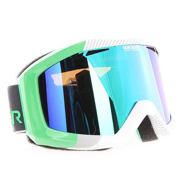 Маска для сноуборда Quiksilver Fenom Green Flash<br><br>Цвет: белый,зеленый<br>Тип: Маска для сноуборда<br>Возраст: Взрослый<br>Пол: Мужской