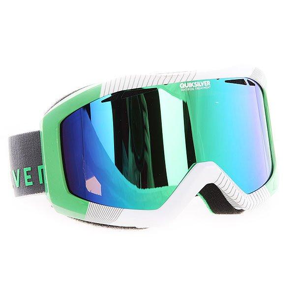 Маска для сноуборда Quiksilver Fenom Pack Green FlashМаска, которая даст Вам новый взгляд на вещи в буквальном смысле!Лучшее снаряжение для лучших!Характеристики:Устойчивый к царапинам фильтр на 100% защищает от ультрафиолетового излучения (блокирует вредное UVA, UVB, UVC излучение, а также ультрафиолетовое излучение до 400 NM).  Цилиндрическая поликарбонатная двойная линза, выполненная по технологии High-Definition.Антиударная и устойчивая к царапинам низкопрофильная оправа PU (органический полимер). Перфорация линз для улучшенной вентиляции.  Технология антизапотевания Quiksilver Anti-fog. Тройное флисовое  покрытие гибкой оправы для дополнительного комфорта. Совместимость с любим видом шлемов.Оптимизирована для средней и широкой формы  лица. Мягкая флисовая сумочка для защиты маски при ношении. Сменная линза в комплекте.<br><br>Цвет: зеленый,белый<br>Тип: Маска для сноуборда<br>Возраст: Взрослый<br>Пол: Мужской