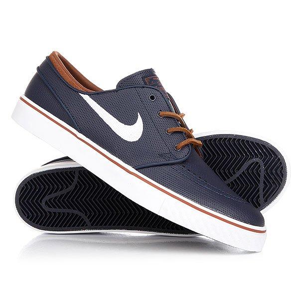 Кеды кроссовки низкие Nike Zoom Stefan Janosti Og Obsidian/White RusticПриятная расцветка новых Nike Janoski OG освежит Вашу обувную коллекцию не только красивой, но и удобной и долговечной моделью. Технология амортизации Zoom делает ее по-настоящему комфортной, а гибкая резиновая подошва с протектором-«елочкой» обеспечивает цепкость и отличное чувство доски (если Вы будете использовать их по прямому назначению - в качестве обуви для катания).Характеристики:Про-модель Stefan Janoski.Низкопрофильные кеды. Верх из кожи. Технология амортизации Nike Zoom под пяткой. Гибкая вулканизированная подошва с цепким протектором ёлочка.Тонкий язычок с плотным прилеганием.<br><br>Цвет: синий<br>Тип: Кеды низкие<br>Возраст: Взрослый<br>Пол: Мужской