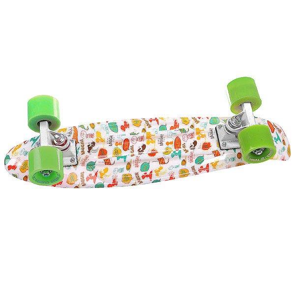 Скейт мини круизер Turbo-FB Pic White/Multicolor/Green 6 x 22 (55.9 см)
