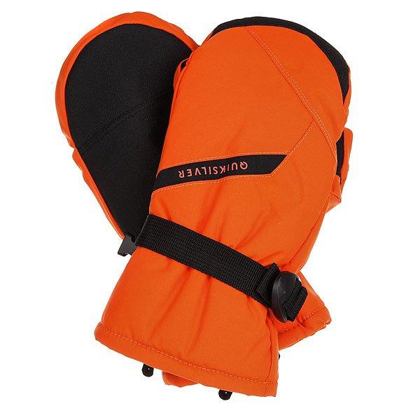 Варежки сноубордические детские Quiksilver Mission Flame<br><br>Цвет: черный,оранжевый<br>Тип: Варежки сноубордические<br>Возраст: Детский