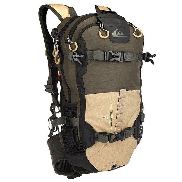 Рюкзак туристический Quiksilver Oxydized Tailor Forest NightФункциональный рюкзак Oxydized для активного отдыха со специальными креплениями для лыж и сноуборда. В рюкзаке имеются несколько карманов для необходимых вещей на склоне.Технические характеристики: Передний карман для крепления щупа и лопатки с быстрым доступом.Карман для одной или двух масок на флисовой подкладке.Компактная петельная система крепления лыж.Система горизонтального и вертикального крепления сноуборда.Подходит для использования с системой гидрации.Съемный ремень на уровне пояса.Формованные заплечные лямки.Регулируемая горизонтальная лямка для оптимального распределения нагрузки.Сигнальный свисток.<br><br>Цвет: черный,бежевый,зеленый<br>Тип: Рюкзак туристический<br>Возраст: Взрослый<br>Пол: Мужской