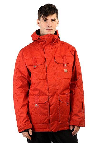 Куртка DC Servo Ketchup RedУтепленная сноубордическая куртка с мембраной 15000 на 10000, а также с большим количеством фирменных фишек DC. Данная куртка отдалённо напоминает олдскульные военные куртки по крою и расположению карманов и, надо сказать, что это очень удобный крой. А еще у неё прочная внешняя ткань, манжеты из лайкры и удобный регулируемый капюшон. Характеристики:Влагостойкая ткань Exotex 15K (15 000 мм. / 10 000 г.). Утеплитель 80гр тело и 40гр рукава. Стандартный крой. Проклеенные швы. Вентиляция закрытая сеткой. Снегозащитная юбка. Капюшон с регулировками. Внутренние манжеты из лайкры. Регулируемые манжеты на липучке.Капюшон с козырьком. Карман на молнии на рукаве для ски-пасса.Нагрудные карманы на кнопках. Передние карманы на кнопках сверху и на молнии сбоку. Перекрестные швы на спине. Внутренний сетчатый карман. Медиа-карман. Подкладка из тафты.<br><br>Цвет: оранжевый<br>Тип: Куртка утепленная<br>Возраст: Взрослый<br>Пол: Мужской