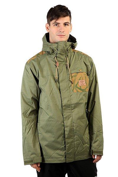Куртка DC Delinquent Four Leaf CloverЛегкая катальная куртка DC Delinquent отличается лаконичным кроем, сдержанным внешним видом и весьма функциональным набором карманов. Отсек для ски-пасса на рукаве позволит всегда держать рядом карточку на подъемник под рукой, а снегозащитная юбка и регулируемые на липучке манжеты - верное спасение от снега, который всегда норовить забраться под куртку.Характеристики:Крой Tailored Fit.Дышащая мембранная влагостойкая тканьEXOTEX™ 10K (10000мм, 5000г/м2).Подкладка: тафта. Утеплитель 40г туловище рукава. Швы проклеены в стратегических местах. Утягивающийся подол. Регулируемый капюшон.Регулируемые на липучке манжеты. Фиксированная снегозащитная юбка.Система крепления штанов к куртке. Карман на липучке на рукаве. Два кармана для рук. Внутренний карман на липучке. Внутренний сетчатый карман.Фирменный логотип на груди. Нагрудный карман.<br><br>Цвет: зеленый<br>Тип: Куртка утепленная<br>Возраст: Взрослый<br>Пол: Мужской