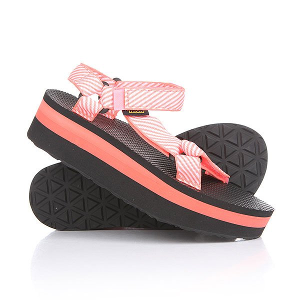 Сандалии женские Teva Flatform Universal Candy Stripe Coral<br><br>Цвет: черный,розовый<br>Тип: Сандалии<br>Возраст: Взрослый<br>Пол: Женский