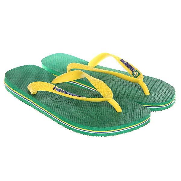 Вьетнамки Havaianas Brasil Logo Green/Yellow<br><br>Цвет: зеленый,желтый<br>Тип: Вьетнамки<br>Возраст: Взрослый<br>Пол: Мужской
