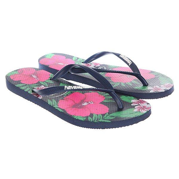 Вьетнамки Havaianas Slim Floral Navy/Multi<br><br>Цвет: синий,мультиколор<br>Тип: Вьетнамки<br>Возраст: Взрослый<br>Пол: Мужской
