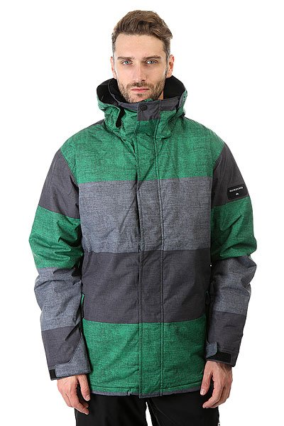 Куртка Quiksilver Mission Print Stripe Jolly GreenQuiksilver Mission Print - куртка, в которой сочетаются современные технологии и стильный дизайн. Мембрана DryFlight® 10К и утеплитель Warmflight® обеспечат тепло и комфортное катание в течении всего дня. Можете быть уверены что снег, ветер и непогода не помешают Вам получить максимум удовольствия от катания.Технические характеристики: Синтетический Оксфорд.Утеплитель Warmflight® (тело 120 г, капюшон 80 г, рукава 100 г).Подкладка из тафты и сетки с трикотажными вставками с начесом.Критические швы проклеены.Вентиляционные отверстия на молнии с сеточной подкладкой.Регулируемый капюшон.Внутренние эластичные манжеты.Внешние манжеты с регулировкой на липучках.Карманы для рук.Карман для скипасса.Внутренний карман для маски.Фиксированная снежная юбка на кнопках.Система пристегивания куртки к штанам.Брелок для ключей.Подол на утяжке для защиты от ветра.Застежка на молнии с ветрозащитным клапаном на липучках.<br><br>Цвет: серый,зеленый<br>Тип: Куртка утепленная<br>Возраст: Взрослый<br>Пол: Мужской