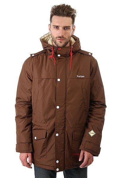 Куртка парка TrueSpin Fishtail Dark BrownОбновленная куртка True Spin Fishtail, выполненная из плотной ткани на основе полиэстера с утеплителем и водоотталкивающей обработкой.Технические характеристики: Плотная ткань на основе полиэстера.Водоотталкивающая обработка.Утеплитель - синтепон.Фиксированный капюшон с регулировкой.Внутренние трикотажные манжеты для дополнительного тепла.Прямой крой.Нагрудные карманы, карманы для рук и внутренние карманы.Внутренняя утяжка талии.Застежка на молнии с ветрозащитным клапаном.<br><br>Цвет: коричневый<br>Тип: Куртка парка<br>Возраст: Взрослый<br>Пол: Мужской