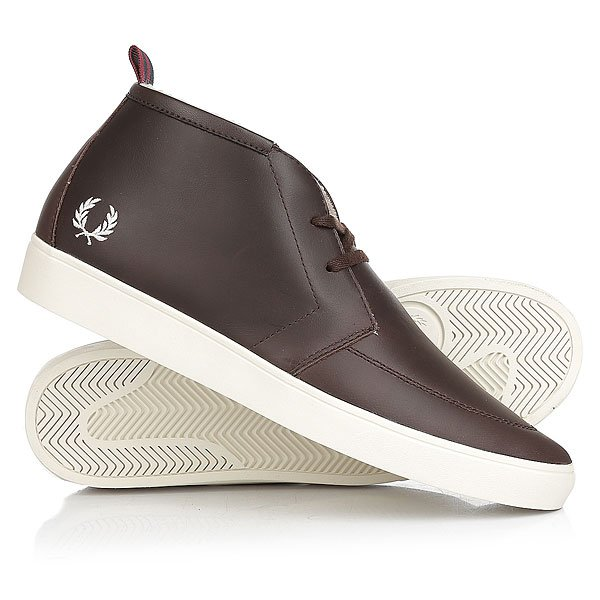 Кеды кроссовки утепленные Fred Perry Shields Mid Leather/Shearling Lining Brown